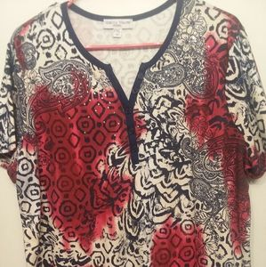 Ladies Red white & blue floral print shirt